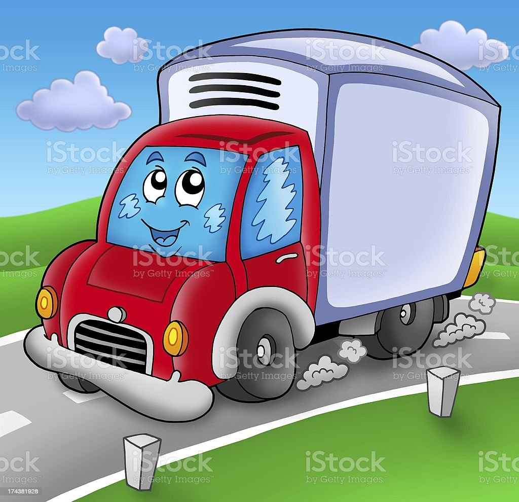 Cute delivery car on road royalty-free stock photo