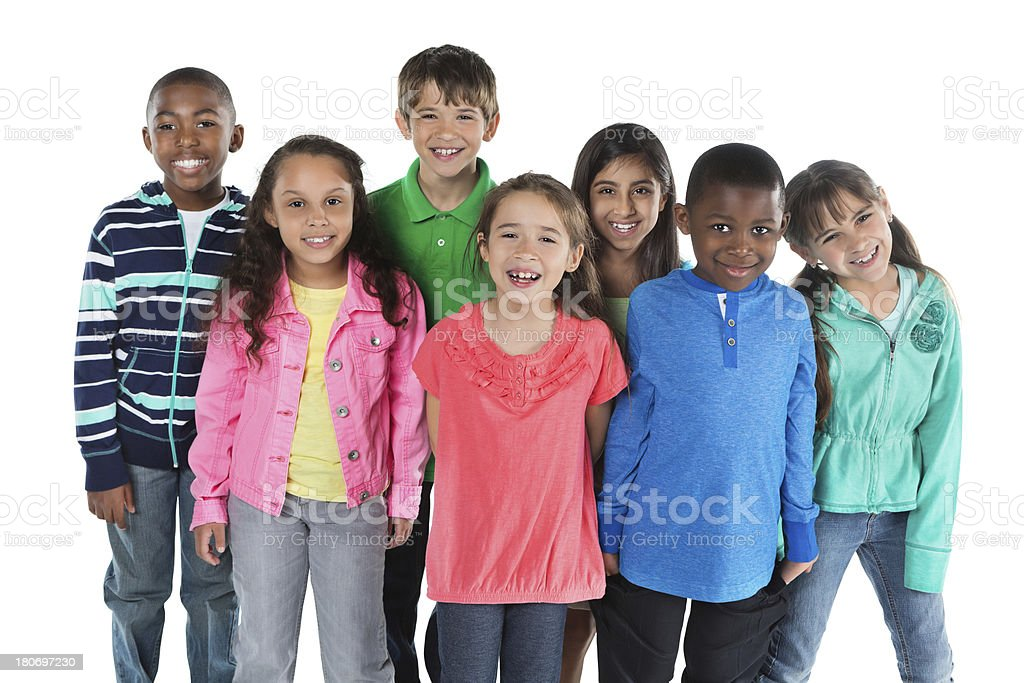 Cute diverse group of elementary school age friends royalty-free stock photo