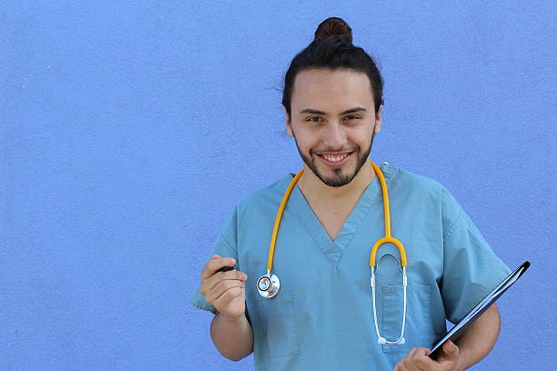 Cute doctor nerd with man bun Cute doctor nerd with man bun and copy space. man bun stock pictures, royalty-free photos & images