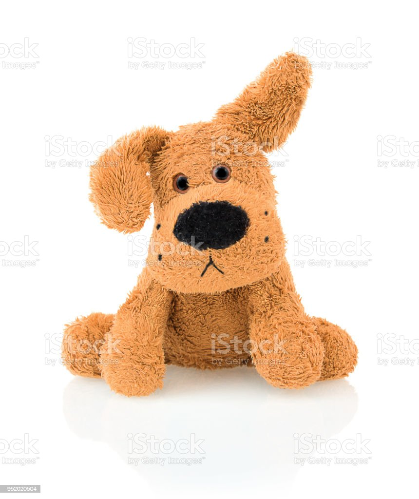 Cute dog doll isolated on white background with shadow reflection. Playful adorable bright brown dog sitting on white underlay. stock photo