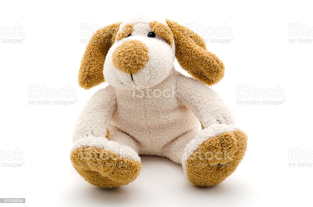 Cute dog toy shot on a white background. – Foto