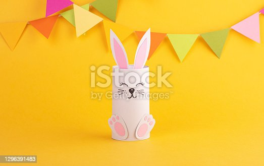 istock Cute Easter bunny made of paper, handmade. Happy Easter 1296391483