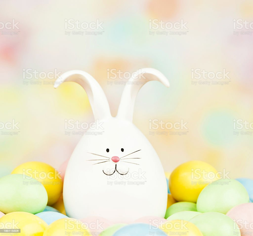 Cute Easter Critter with Eggs stock photo