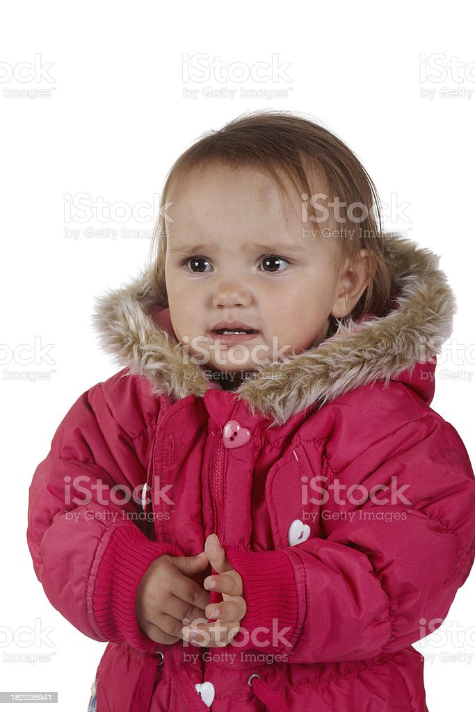 Cute eighteen month old girl winter coat royalty-free stock photo