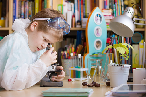 istock Cute elementary school boy looking into microscope at his desk at home. Young scientist making experiments in his home laboratory. Indoors. Child and science. 1086993400