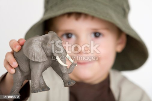 istock Cute explorer playing with his elephant 182885623