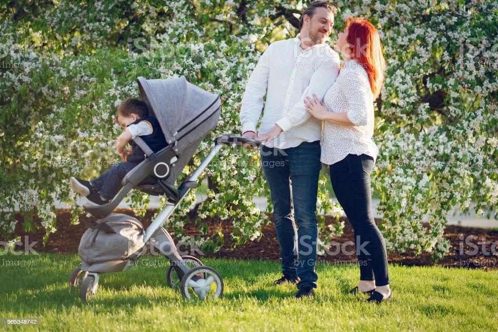 cute family in a sunny park zbiór zdjęć royalty-free