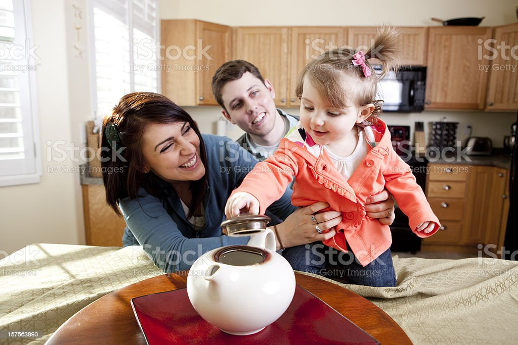 Cute Family in KItchen royalty-free stock photo