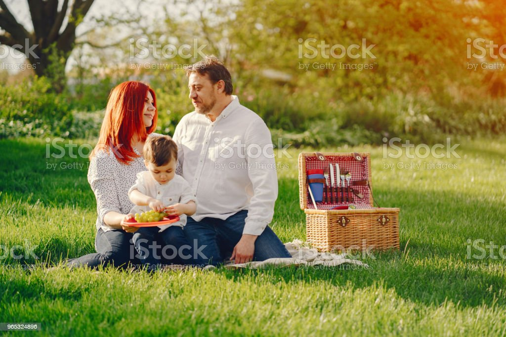 cute family sitting in a sunny park royalty-free stock photo