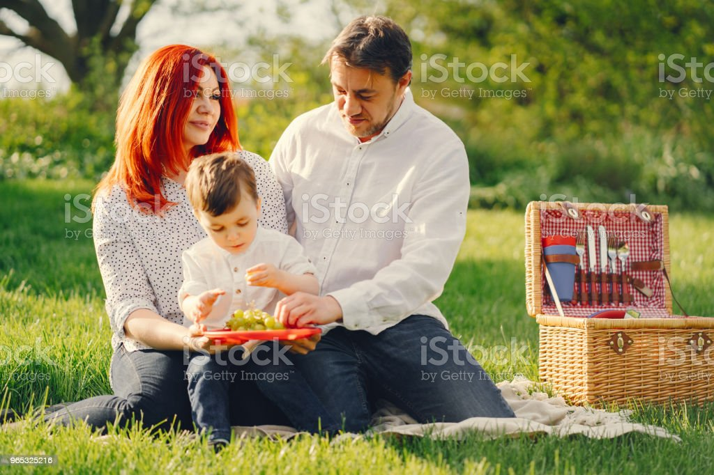 cute family sitting in a sunny park zbiór zdjęć royalty-free