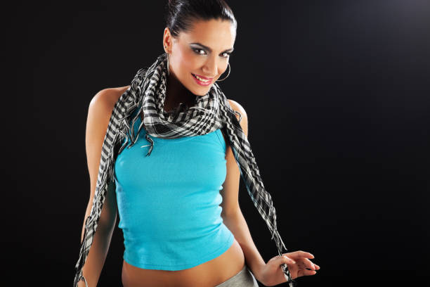 Cute fashion model Fashion model enjoy to pose, wearing sports wear. spaghetti straps stock pictures, royalty-free photos & images