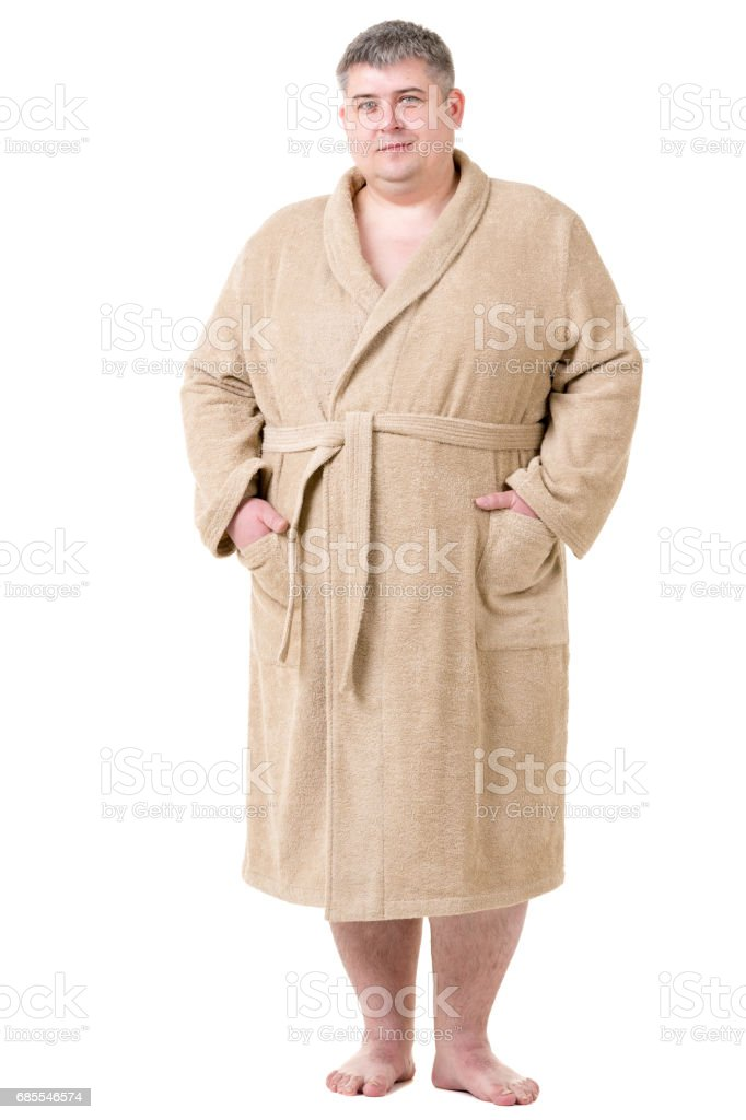 Cute Fat Man In Terry Cloth Bathrobe Stock Photo Download Image Now Istock
