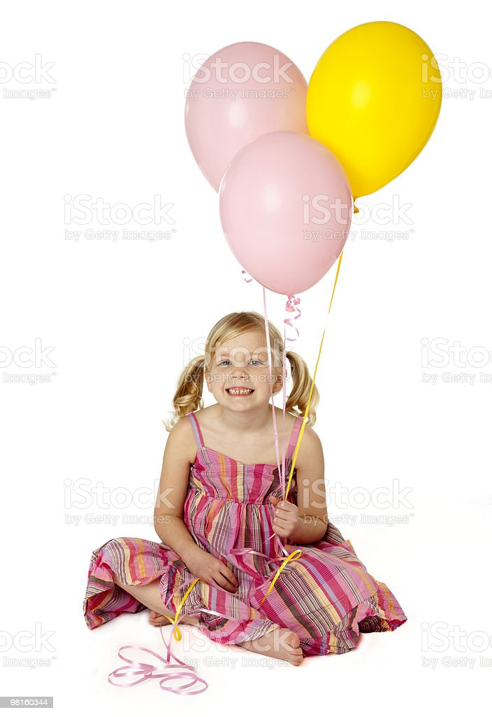 Cute Female Child Holding Balloons royalty-free stock photo