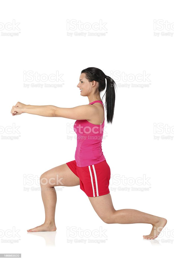 Cute female doing yoga royalty-free stock photo