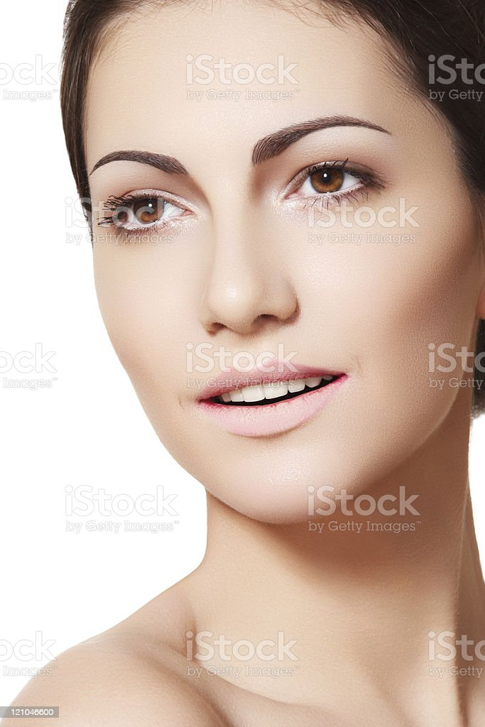 Cute female face with pure complexion and happy smile stock photo