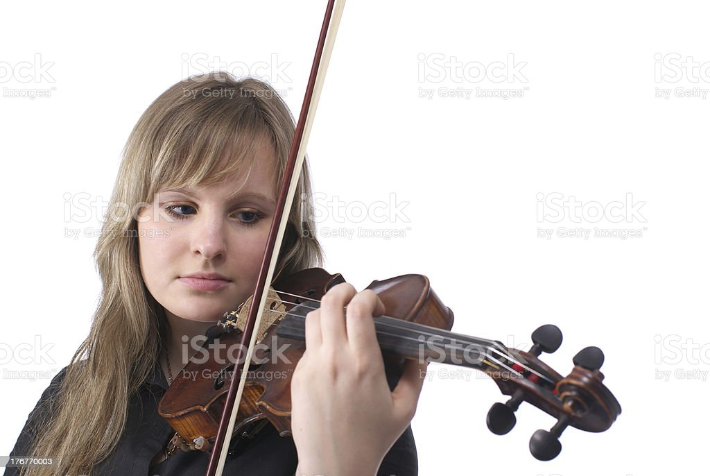 Cute female playing violin royalty-free stock photo