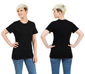 Young beautiful blond female with blank black shirt, front and back. Ready for your design or artwork.