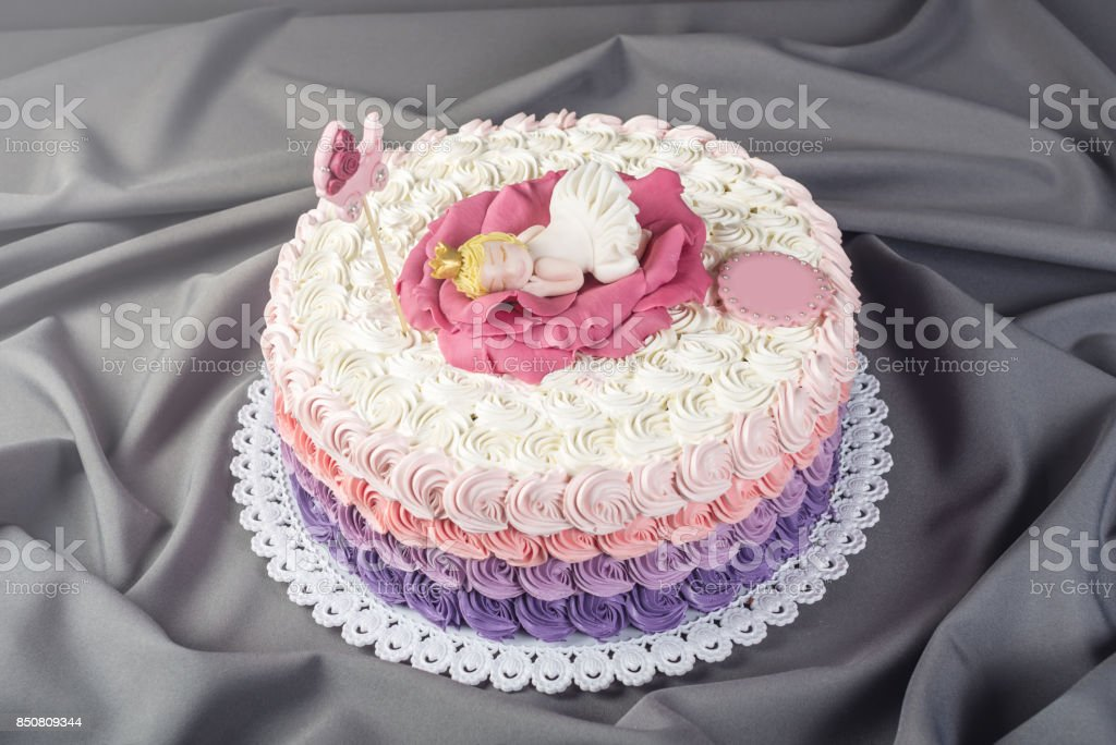 Cute Festive Pink Cake Decorated With A Big Flower Where Sleeps The Little Princess Desserts