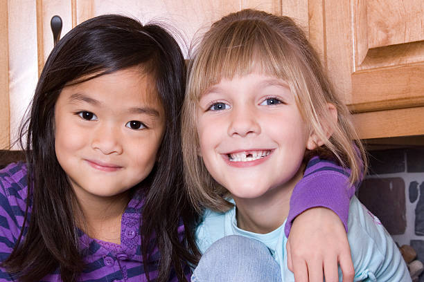 Cute First Graders stock photo