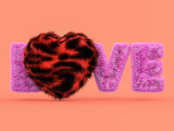 süße flauschige rosa herzform auf rosa. 3d - geparden bettwäsche stock-fotos und bilder