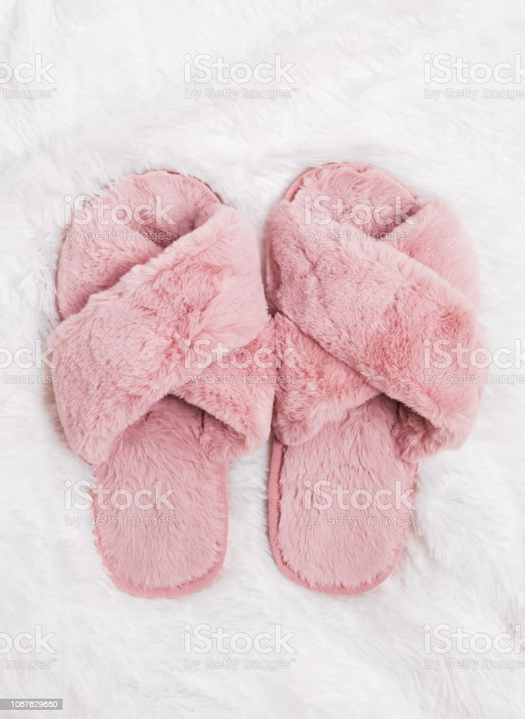 Cute Fluffy Slippers Standing On The Fluffy Carpet Stock Photo Download Image Now Istock