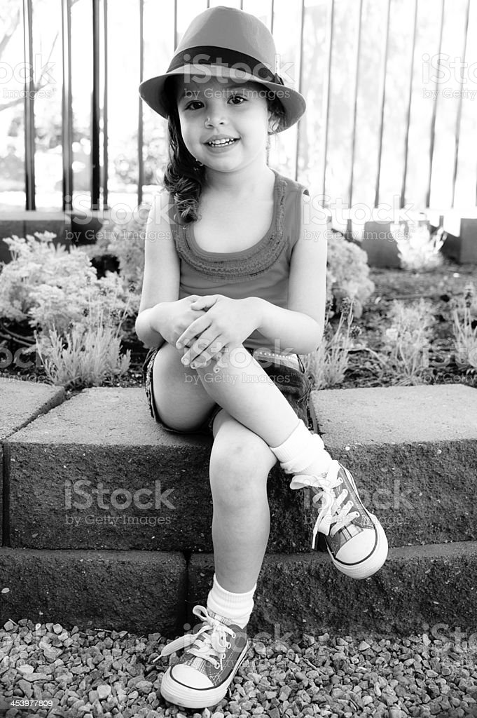 Cute Four Year Old Girl with Hat, Black and White royalty-free stock photo