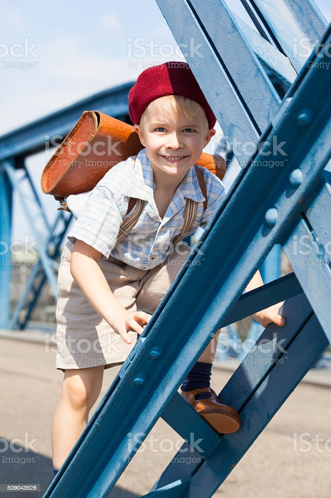 Cute French Schoolboy stock photo