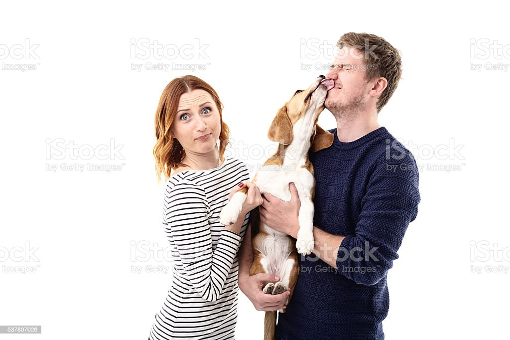 Cute friendly family is playing with puppy stock photo