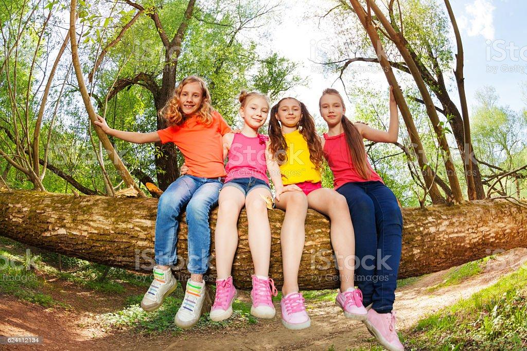 Cute friends having fun on fallen tree stem stock photo