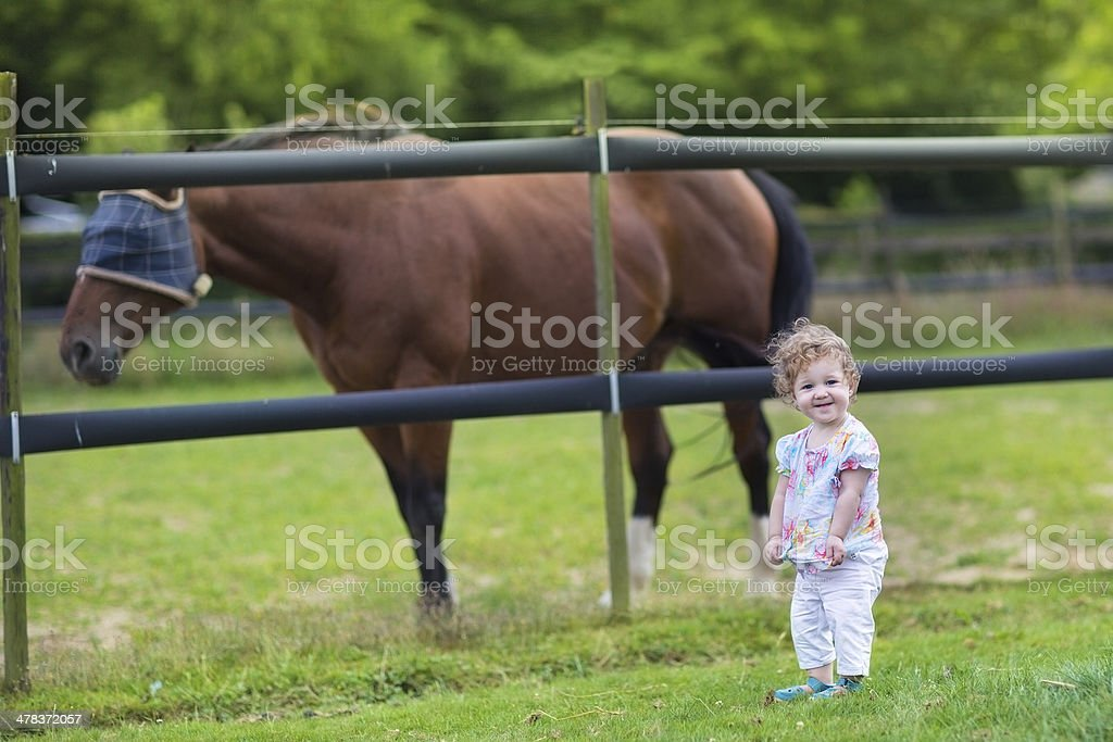 Cute Funny Baby Playing With Horse On Farm In Summer Stock Photo Download Image Now Istock