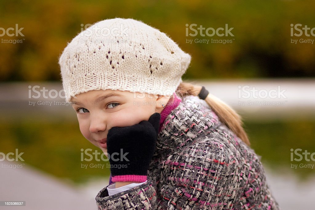 cute funny blonde teenager girl in white beret royalty-free stock photo
