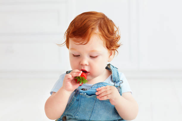 bébé mignon bambin gingembre dégustation de fraises - Photo