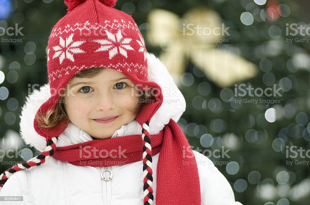 Cute girl and Christmas Tree royalty-free stock photo
