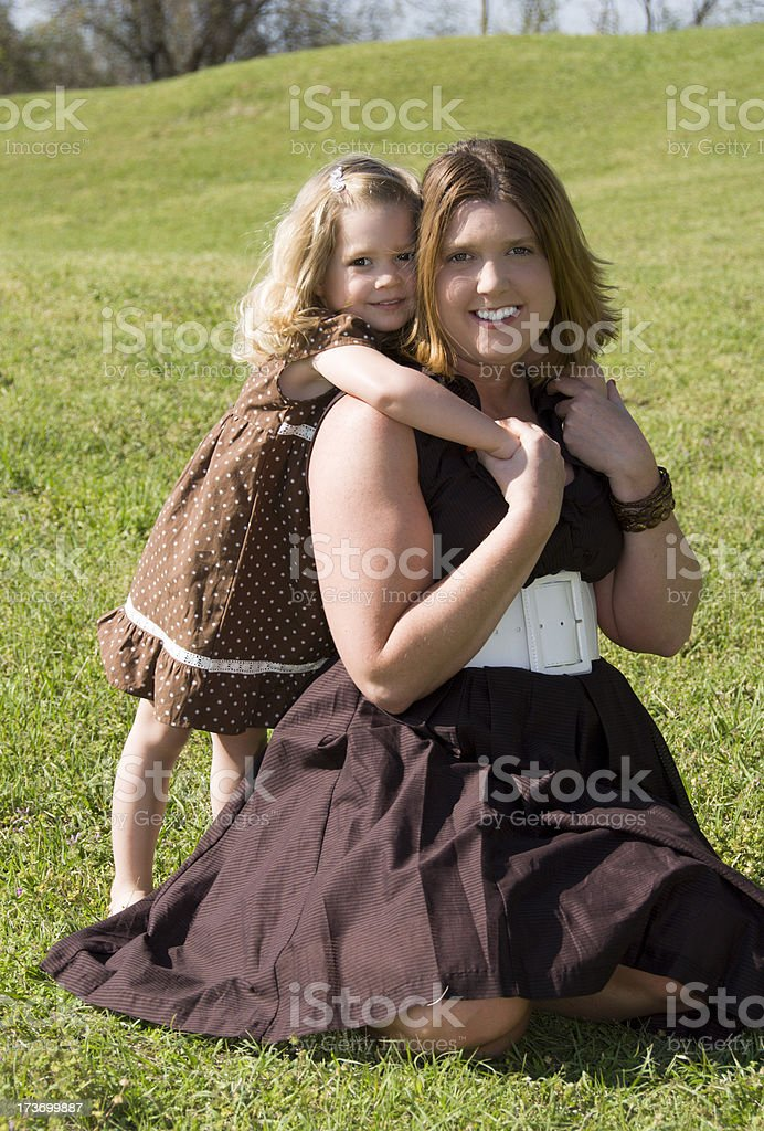 Cute girl and mother royalty-free stock photo