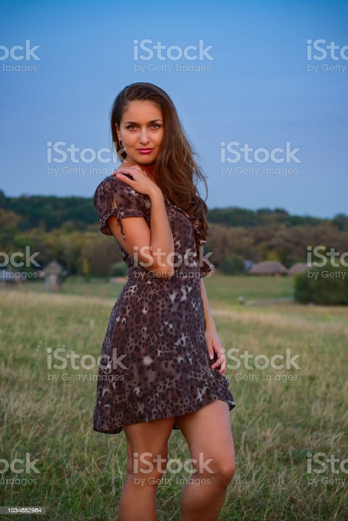 Cute Girl and Village stock photo