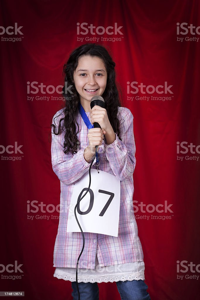 cute girl at audition stock photo