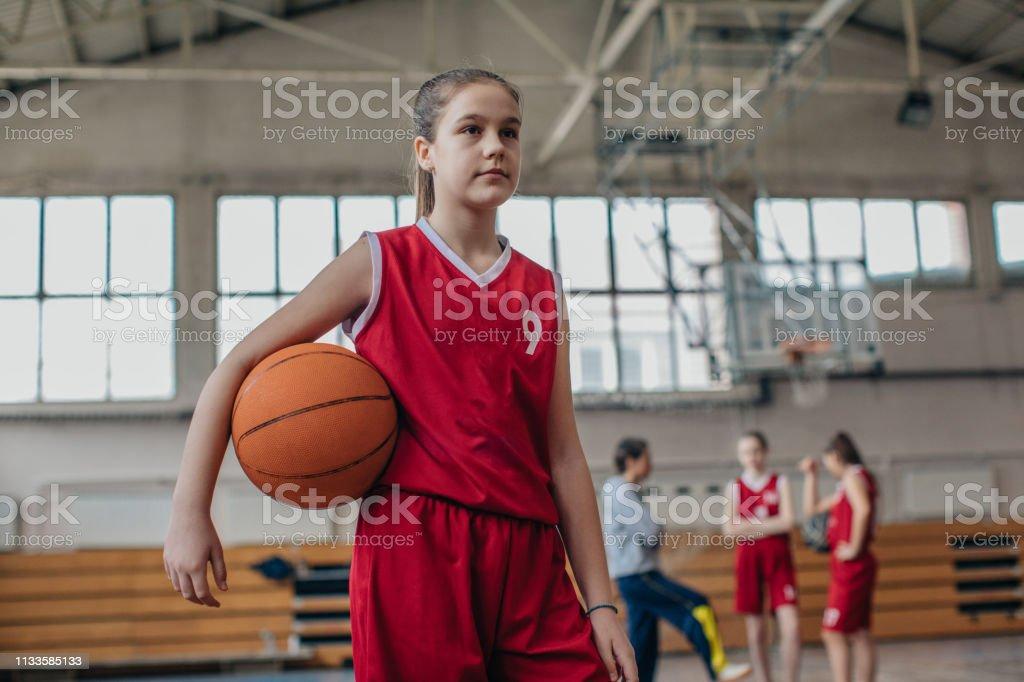 Group of people, woman basketball coach and teenage girls basketball...