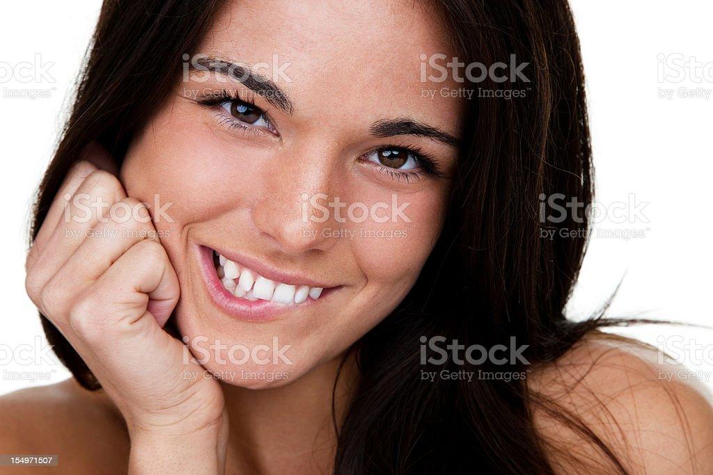 Cute girl biting her lip royalty-free stock photo