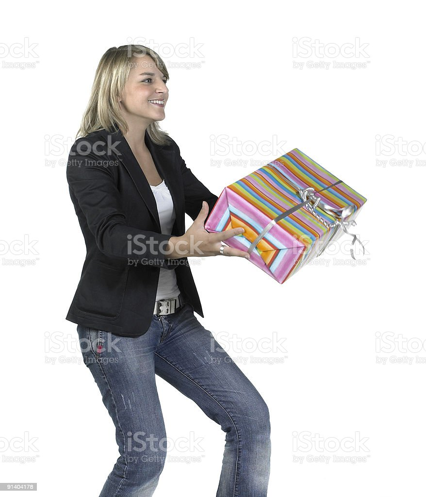 cute girl delivering or recieving a present royalty-free stock photo