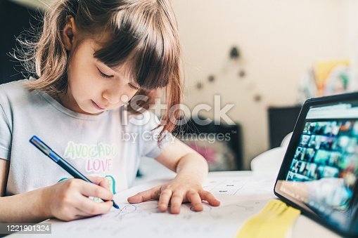 Cute Girl sitting at home and studying over internet via video conference