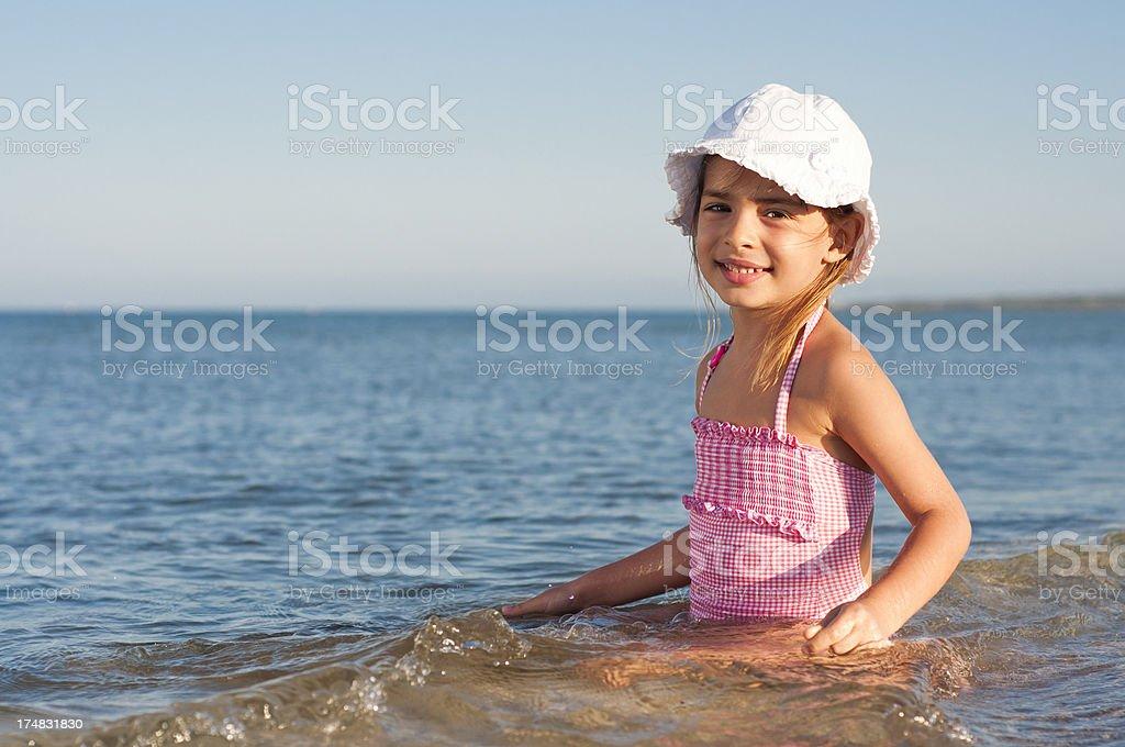 Cute girl enjoying the sea royalty-free stock photo