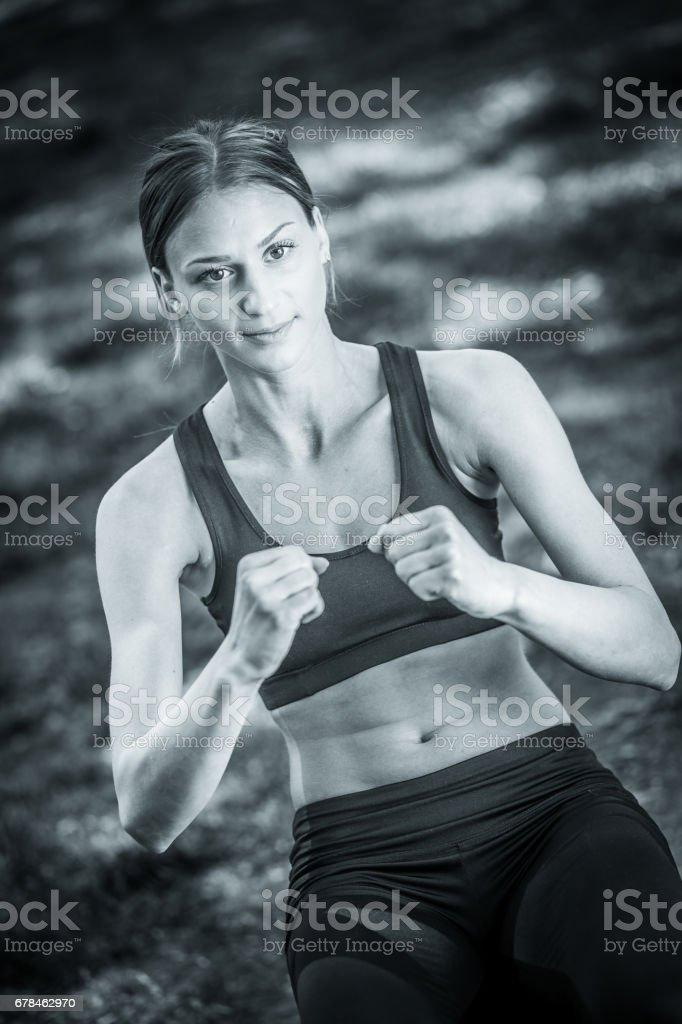 Cute girl exercising outdoor royalty-free stock photo