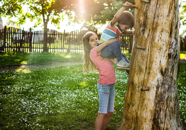 Cute girl helping small brother to climb a tree stock photo