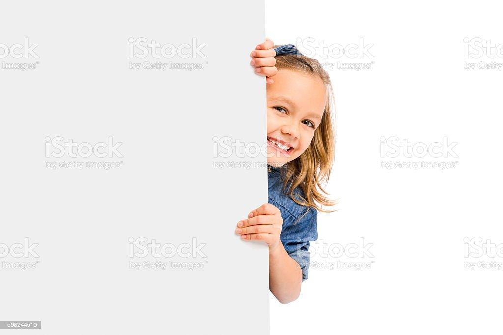Cute Girl holding a whiteboard – Foto