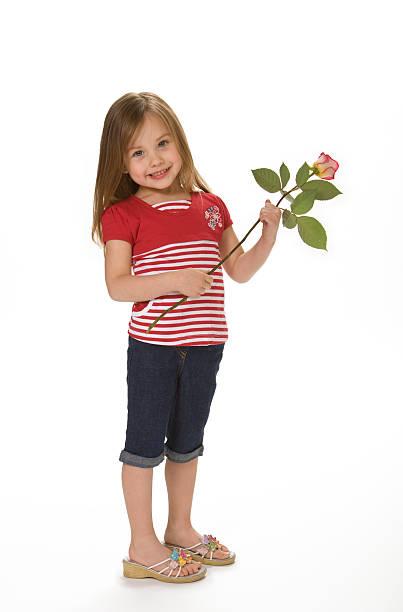 süßes mädchen mit rose - denim caprihosen stock-fotos und bilder