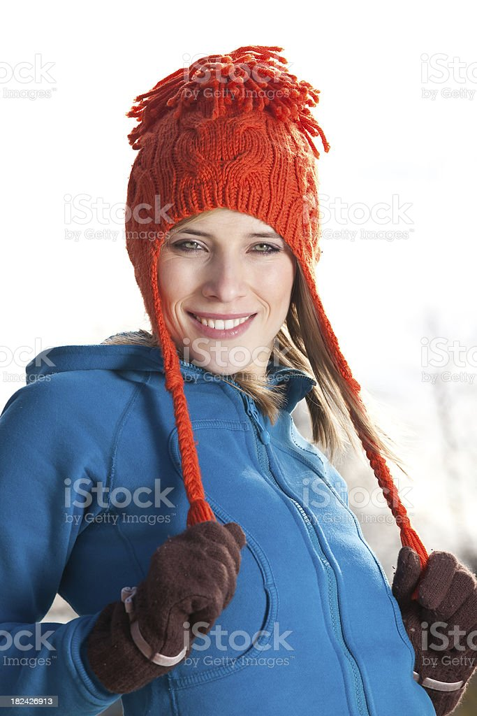 Cute girl in a winter hat. royalty-free stock photo