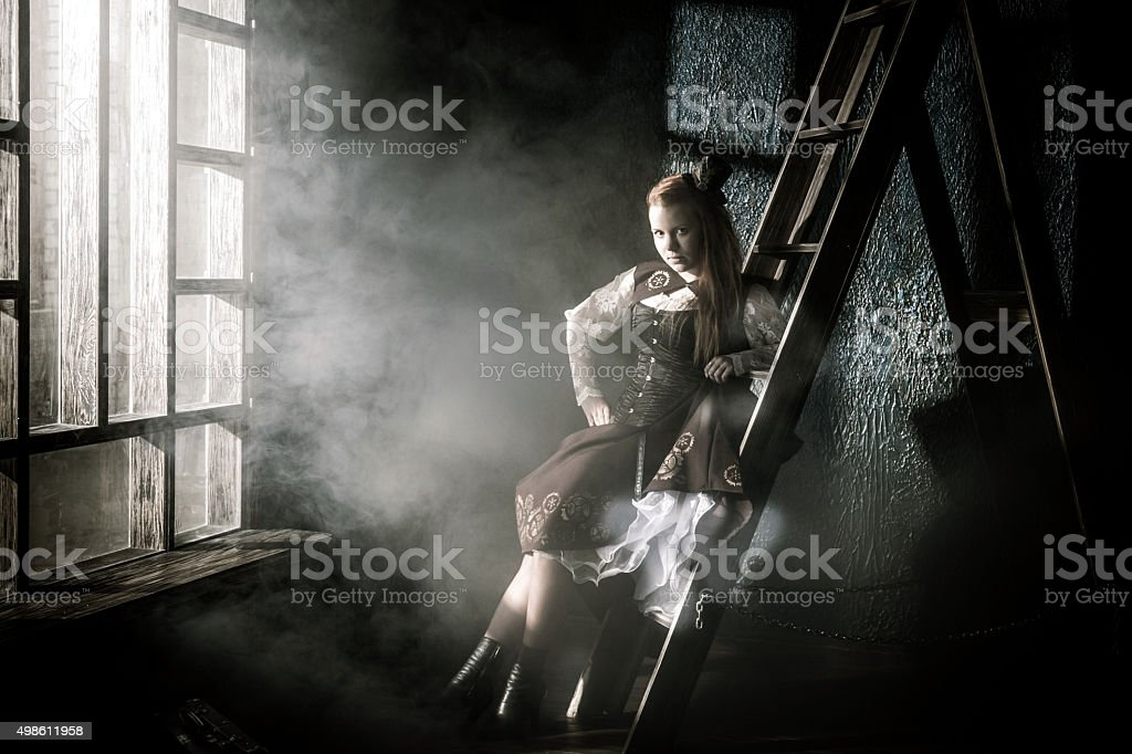 Cute Girl In Age Of Steam stock photo