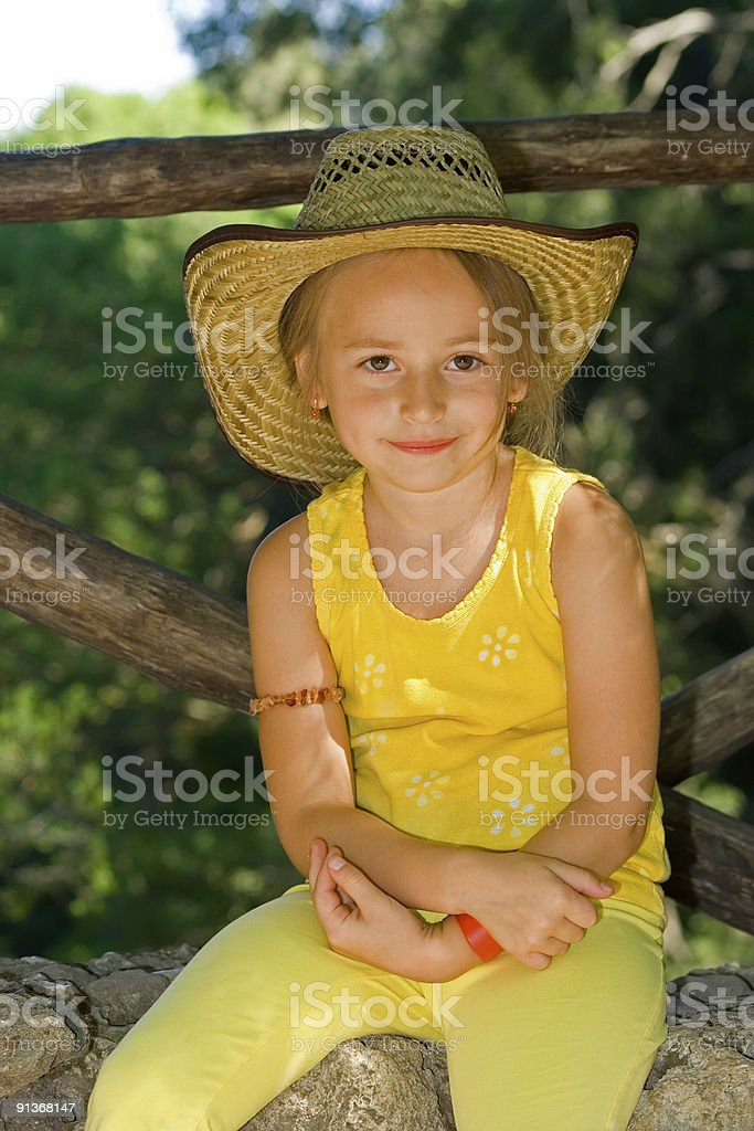 Cute girl in hat royalty-free stock photo