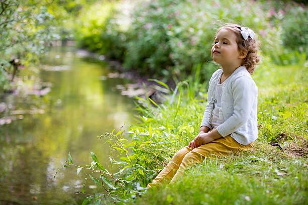 cute girl in park - summer smell bildbanksfoton och bilder