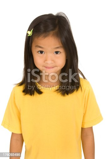 Chinese girl wears yellow shirt with room for copy